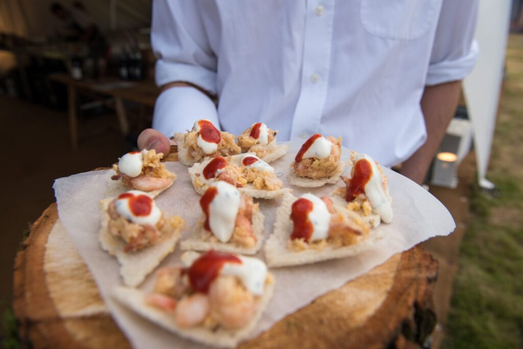 Canapes at raynham in walled garden venue hire space